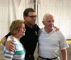 Rick Perry with former State Rep. Gary Blodgett & his wife, Sandy, of Clear Lake.