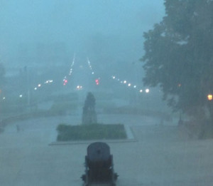 Heavy rain Monday blocks out most of the view from the state capitol.