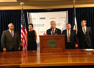 Ag Secretary Bill Northey, Lt. Gov Reynolds,  Governor  Branstad,  ISA's Kirk Leeds, IAWA executive director Sean McMahan.