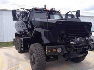 Johnson County Sheriff's MRAP vehicle (photo courtesy KCRG-TV)