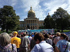 Vice president Biden spoke on the west steps of the Iowa State Capitol.