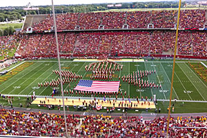 The Iowa State University Marching band plays the National Anthem.