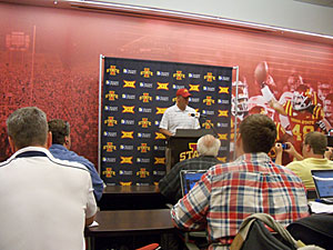 Paul Rhoads talks with reporters after the 32-28 loss to KSU.