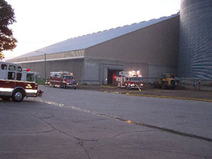 Firefighters had to clear out millions of bushels of grain after the fire at the Sioux Center Coop.