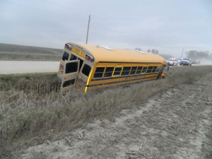 This West Union school bus was involved in an accident with a manure spreader.