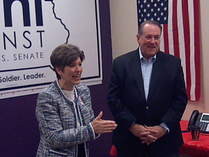Joni Ernst and Mike Huckabee in Sioux City.