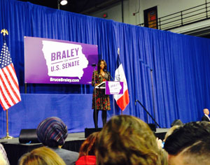 First Lady Michele Obama returns to Iowa today to campaign for Democrat Senate candidate Bruce Braley.