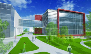 Sketch of proposed new building for Drake's STEM program.
