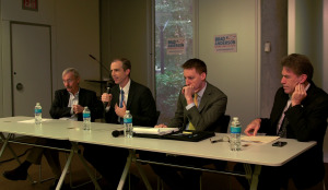 Moderator Mike Glover; Brad Anderson, Jason Kander and Mark Ritchie. (L-R)
