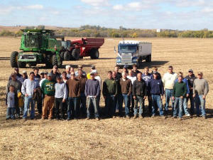 Friends and neighbors harvested the crops on Gene Sitzmann's farm.