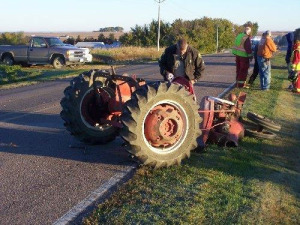 A deputy looks for clues in the hit-and-run involving this tractor.