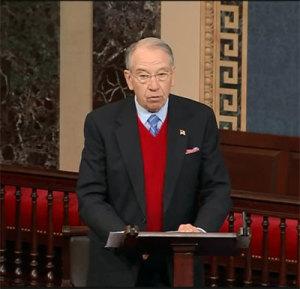 Senator Chuck Grassley giving tribute speech to Senator Tom Harkin.