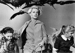 "Tippi Hedren in a publicity photo for ""The Birds."""