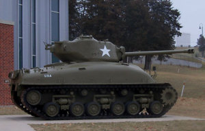 World War Two era tank on display at the Iowa Goldstar Military Museum.