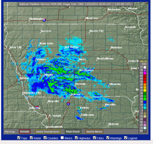 NWS radar shows rain that's expected to turn to snow.