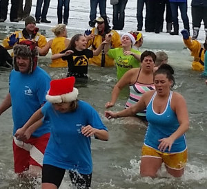 Polar plunge participants in chilly Clear Lake.