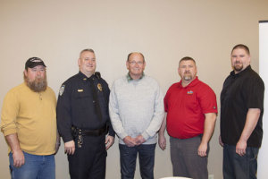 Dennis Sexton, Officer Dan Plueger, Mark Ruba, Don Allaway and Randy Bock. (L-R)