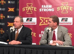 (L-R) Iowa Farm Bureau President Craig Hill and ISU Athletics Director Jamie Pollard