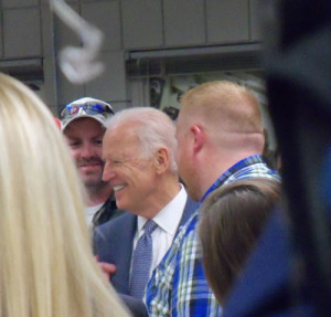 Vice President Biden talks with participants after speaking at DMACC.