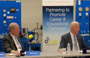 DMACC president Rob Denson and Vice President Joe Biden. (L-R)
