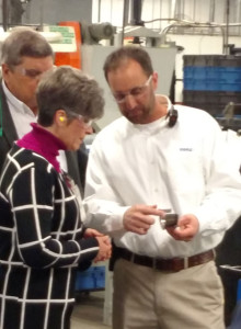 Senator Joni Ernst during a tour of the Mahle Engine Components plant in Atlantic.