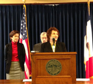 Sheila Lynch talks about the domestic abuse bill at the Governor's weekly news conference.