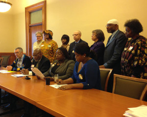 Members if the NAACP spoke today at the state capitol.