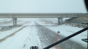 View from DOT snowplow on Highway 30 west of Marshalltown.