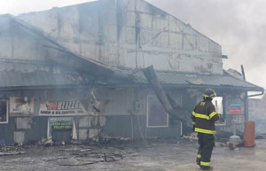 Fire destroyed Edgewood Auto and Tire this morning.