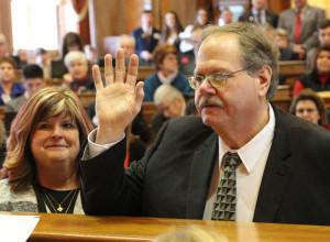 State Representative David Sieck is sworn in.