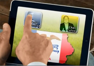 A campaign commercial shows Governor Branstad using an app on an iPad.
