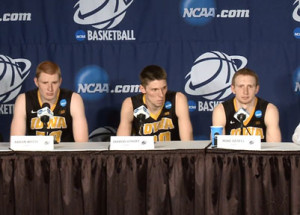 Aaron White, Jarrod Uthoff and Mike Gesell answer questions after loss to Gonzaga.