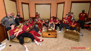 Cyclone players watch the NCAA selection show. (ISU Athletics photo)