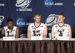 Wes Washpun, Seth Tuttle and Paul Jesperson answer questions after UNI's win.