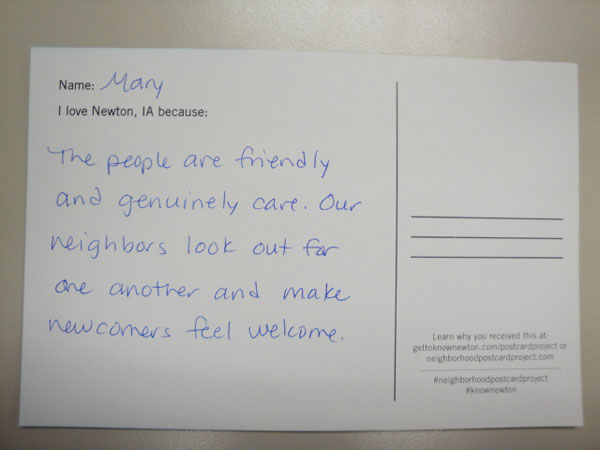 Newton sends out thousands of postcards to encourage city pride