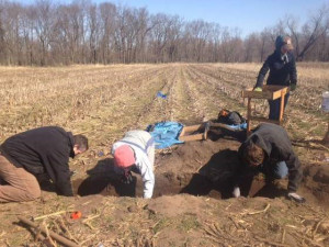 Archeologists work at the site of a former Meskwaki village.