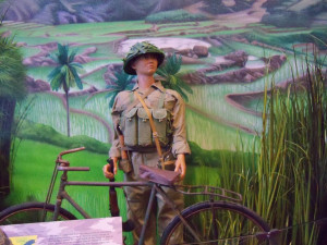 A depiction of a North Vietnamese soldier is part of the exhibit.