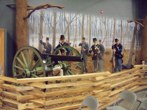 A diorama depicts Iowans at the Battle of Shiloh in April of 1862.