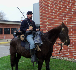 Civil War reenactor Dave Gordy of Ottumwa and his horse Duke.