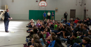 Congressman David Young talks to students at Grandview Christian School in Des Moines.