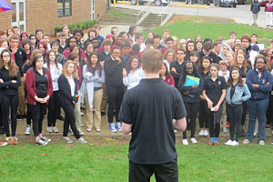 Student rally at West Des Moines Dowling. (Photo courtesy of Iowa Public Radio)