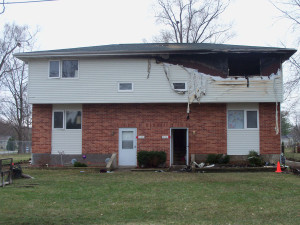 Duplex in Evansdale where two kids were saved by construction workers.