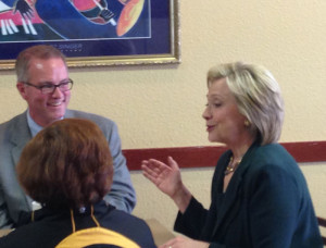 Democrat Hillary Clinton at a coffee shop in Marshalltown.