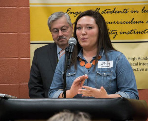 Southeast Polk High School student council president Maddy Sheets speaks during Governor Branstad's weekly news conference at Southeast Polk Junior High.