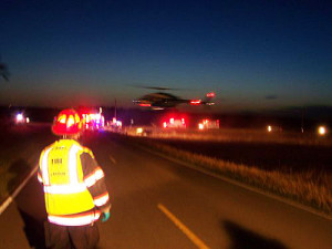 Helicopter takes away a victim from the accident in Plymouth County.