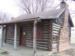 Log cabin at center of the Plymouth County Historical Museum controversy.