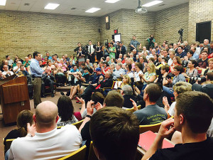 Ted Cruz speaks to a crowd in Sioux City.
