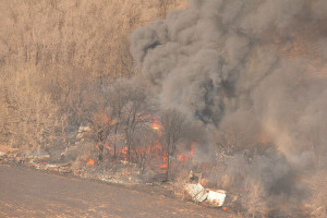 No one was injured as a home near Sioux City was destroyed by a grass fire.