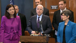 Senators Kelly Ayotte (left) John McCain and Joni Ernst.