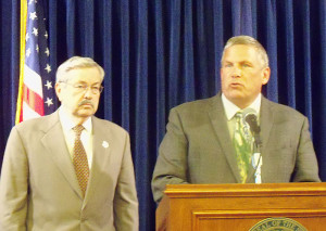 Ag Secretary Bill Northey talks about the bird flu along with Governor Terry Branstad.